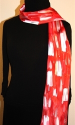 Red and White Hand Painted Silk Scarf with Silver Accents - photo 3