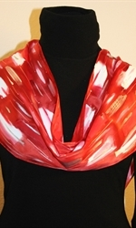 Red and White Hand Painted Silk Scarf with Silver Accents - photo 2