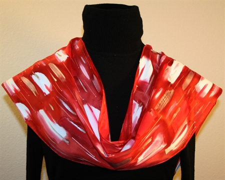 Red and White Hand Painted Silk Scarf with Silver Accents
