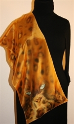 Leopard Eyes Hand Painted Crepe Silk Scarf - photo 4