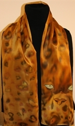Leopard Eyes Hand Painted Crepe Silk Scarf - photo 3
