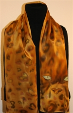 Leopard Eyes Hand Painted Crepe Silk Scarf