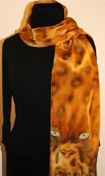 Leopard Eyes Hand Painted Crepe Silk Scarf - photo 2