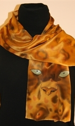 Leopard Eyes Hand Painted Crepe Silk Scarf - photo 1