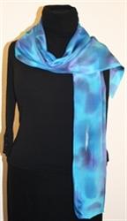 Blue Ocean Hand Painted Crepe Silk Scarf