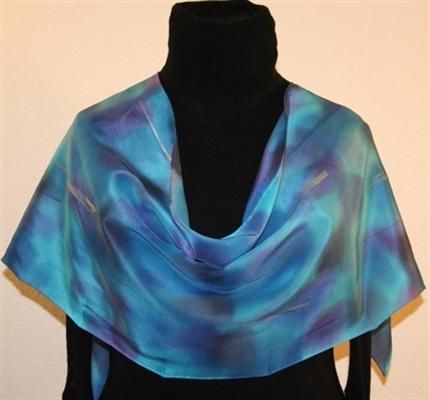 Blue Ocean Hand Painted Silk Scarf