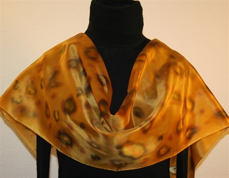 Leopard Eyes Hand Painted Silk Scarf