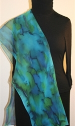 Blue and Green Chiffon Hand Painted Silk Scarf - photo 4