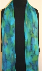 Blue and Green Chiffon Hand Painted Silk Scarf - photo 3