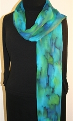 Blue and Green Chiffon Hand Painted Silk Scarf - photo 2