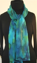 Blue and Green Chiffon Hand Painted Silk Scarf - photo 1