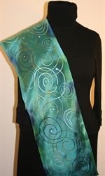 Turquoise Hand Painted Silk Scarf with Spirals - photo 4