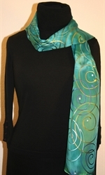 Turquoise Hand Painted Silk Scarf with Spirals - photo 3