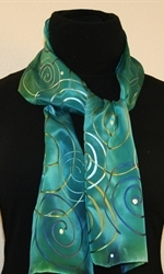 Turquoise Hand Painted Silk Scarf with Spirals - photo 2