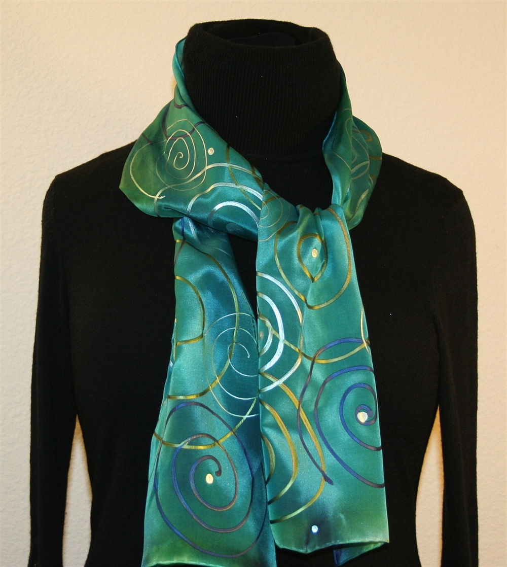 custom designed unique hand painted silk scarves and