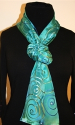 Turquoise Hand Painted Silk Scarf with Spirals - photo 1