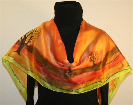 Sunset Landscape Hand Painted Silk Scarf