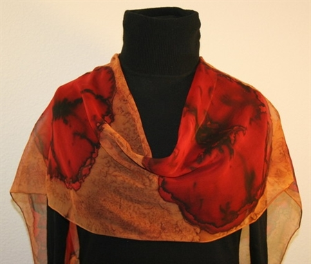 Big Red Poppies Hand Painted Silk Scarf