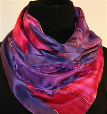 Purple Hand Painted Silk Scarf with Flowers