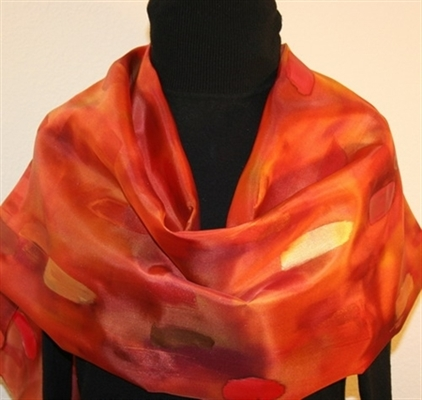 Copper Autumn Hand Painted Silk Shawl