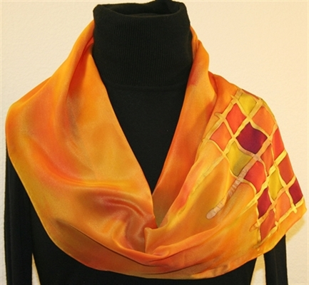 Yellow and Orange Hand Painted Silk Scarf