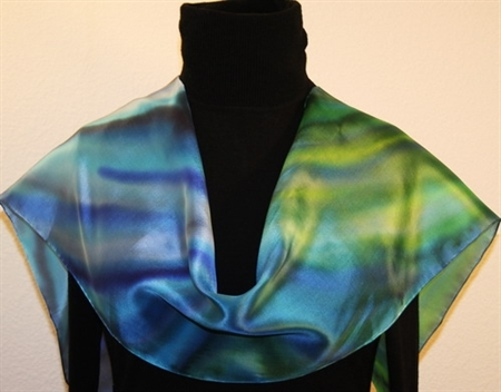 Ripples Hand Painted Silk Scarf in Blue and Green