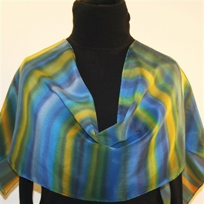 Water and Earth Hand Painted Silk Scarf
