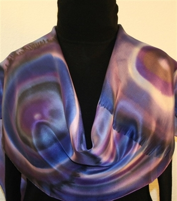 Purple Quartz Hand Painted Silk Scarf