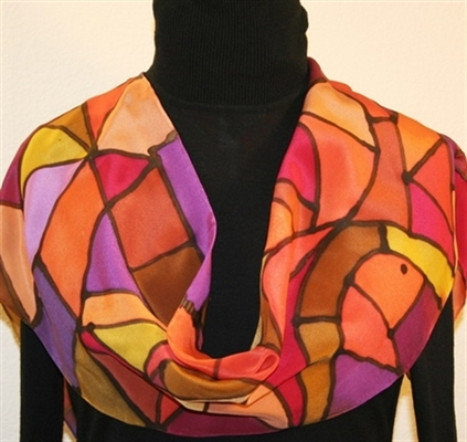 Stained Glass Hand Painted Silk Scarf