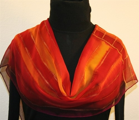 Red Horizons Hand Painted Silk Scarf