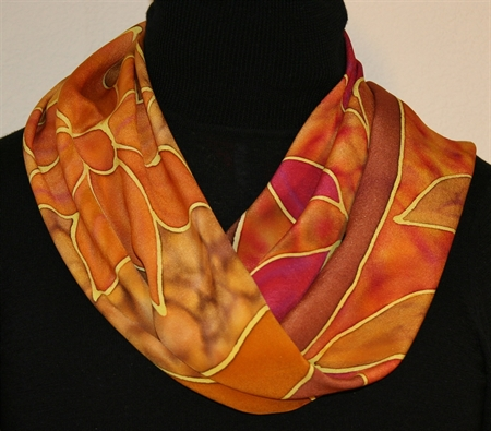 Autumn Impressions Hand Painted Silk Scarf
