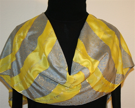 Gold and Silver Hand Painted Silk Scarf