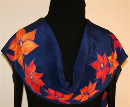 Orange Blossoms Hand Painted Silk Scarf