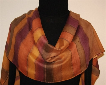 Adobe Stripes Silk-Wool Hand Painted Scarf