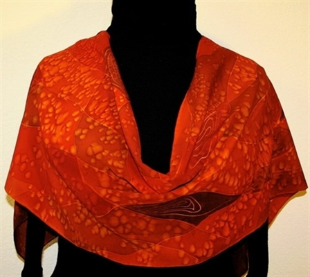 Pomegranate Mosaics Hand Painted Silk Scarf in Red and Brown