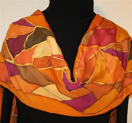 Autumn Patchwork Hand Painted Silk Scarf in Orange, Brown and Burgundy
