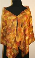 Multicolored Hand Painted Silk Scarf in Shades of Brown and Taupe - 4