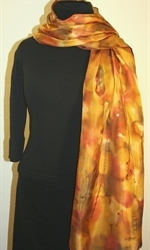Multicolored Hand Painted Silk Scarf in Shades of Brown and Taupe - 3