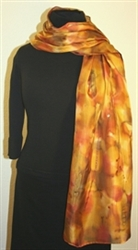 Multicolored Hand Painted Silk Scarf in Shades of Brown and Taupe