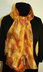 Multicolored Hand Painted Silk Scarf in Shades of Brown and Taupe - 2