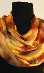 Multicolored Hand Painted Silk Scarf in Shades of Brown and Taupe - 1