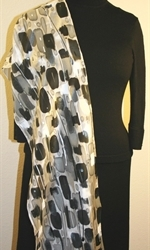 Black and White Hand Painted Silk Scarf with Silver Accents - 4