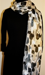Black and White Hand Painted Silk Scarf with Silver Accents - 3