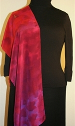 Santa Fe Sunset Hand Painted Silk Scarf in Hues of Red, Orange and Purple - 4