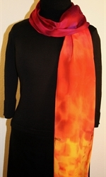 Santa Fe Sunset Hand Painted Silk Scarf in Hues of Red, Orange and Purple - 3