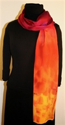 Santa Fe Sunset Hand Painted Silk Scarf in Hues of Red, Orange and Purple