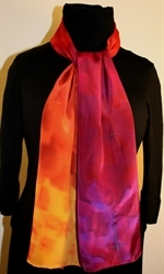 Santa Fe Sunset Hand Painted Silk Scarf in Hues of Red, Orange and Purple - 2