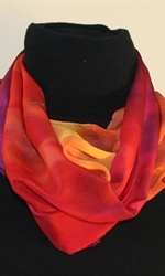 Santa Fe Sunset Hand Painted Silk Scarf in Hues of Red, Orange and Purple - 1