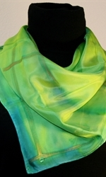 Square Hand Painted Silk Scarf in Green - 4