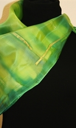 Square Hand Painted Silk Scarf in Green - 3